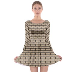 Brick1 Black Marble & Sand Long Sleeve Skater Dress