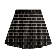 Brick1 Black Marble & Sand (r) Mini Flare Skirt