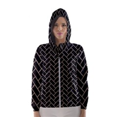 Brick2 Black Marble & Sand (r) Hooded Wind Breaker (women)