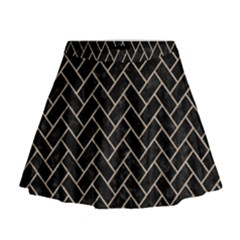 Brick2 Black Marble & Sand (r) Mini Flare Skirt