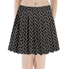 Brick2 Black Marble & Sand (r) Pleated Mini Skirt