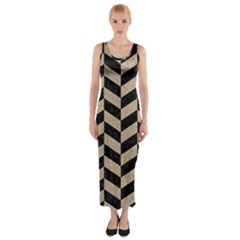 Chevron1 Black Marble & Sand Fitted Maxi Dress