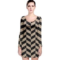 Chevron1 Black Marble & Sand Long Sleeve Velvet Bodycon Dress