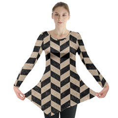 Chevron1 Black Marble & Sand Long Sleeve Tunic