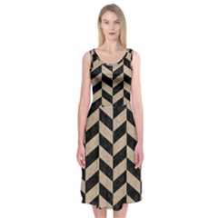 Chevron1 Black Marble & Sand Midi Sleeveless Dress