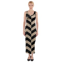 Chevron2 Black Marble & Sand Fitted Maxi Dress