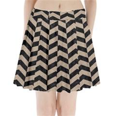 Chevron2 Black Marble & Sand Pleated Mini Skirt