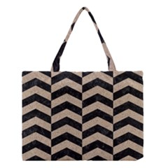 Chevron2 Black Marble & Sand Medium Tote Bag