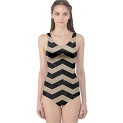 Chevron3 Black Marble & Sand One Piece Swimsuit