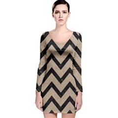 Chevron9 Black Marble & Sand Long Sleeve Velvet Bodycon Dress