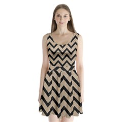 Chevron9 Black Marble & Sand Split Back Mini Dress