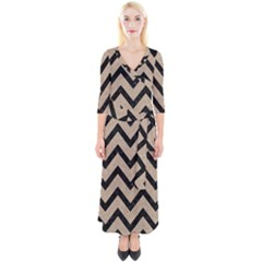 Chevron9 Black Marble & Sand Quarter Sleeve Wrap Maxi Dress