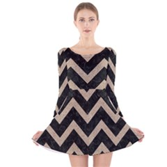 Chevron9 Black Marble & Sand (r) Long Sleeve Velvet Skater Dress