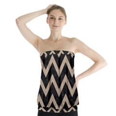 Chevron9 Black Marble & Sand (r) Strapless Top