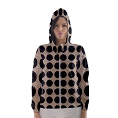 Circles1 Black Marble & Sand Hooded Wind Breaker (women)