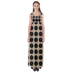 Circles1 Black Marble & Sand Empire Waist Maxi Dress