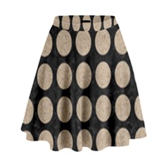 Circles1 Black Marble & Sand (r) High Waist Skirt