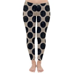 Circles2 Black Marble & Sand Classic Winter Leggings
