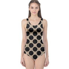 Circles2 Black Marble & Sand One Piece Swimsuit