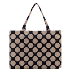 Circles2 Black Marble & Sand (r) Medium Tote Bag