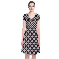 Circles3 Black Marble & Sand Short Sleeve Front Wrap Dress
