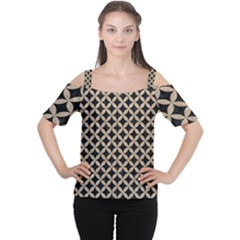 Circles3 Black Marble & Sand (r) Cutout Shoulder Tee