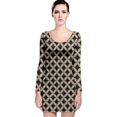 Circles3 Black Marble & Sand (r) Long Sleeve Velvet Bodycon Dress