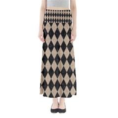 Diamond1 Black Marble & Sand Full Length Maxi Skirt