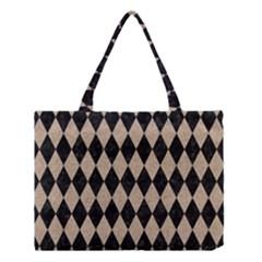 Diamond1 Black Marble & Sand Medium Tote Bag