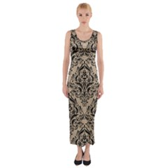 Damask1 Black Marble & Sand Fitted Maxi Dress