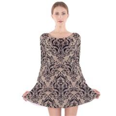 Damask1 Black Marble & Sand Long Sleeve Velvet Skater Dress