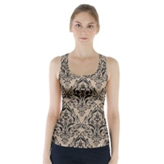 Damask1 Black Marble & Sand Racer Back Sports Top