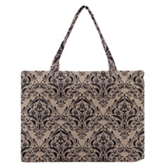 Damask1 Black Marble & Sand Zipper Medium Tote Bag