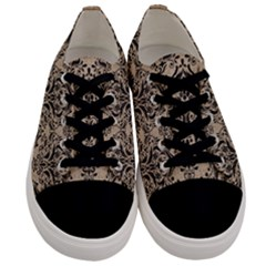 Damask1 Black Marble & Sand Men s Low Top Canvas Sneakers