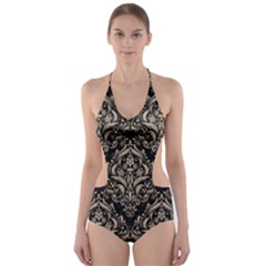 Damask1 Black Marble & Sand (r) Cut Out One Piece Swimsuit