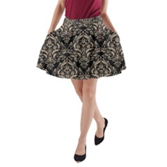 Damask1 Black Marble & Sand (r) A Line Pocket Skirt