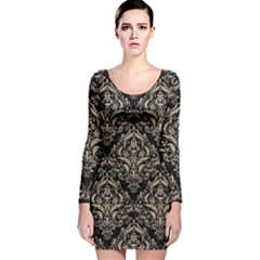 Damask1 Black Marble & Sand (r) Long Sleeve Velvet Bodycon Dress
