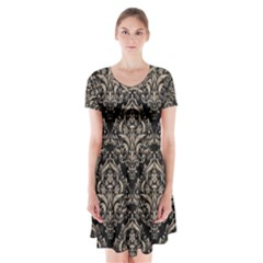 Damask1 Black Marble & Sand (r) Short Sleeve V Neck Flare Dress