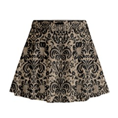 Damask2 Black Marble & Sand Mini Flare Skirt