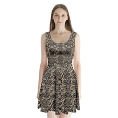 Damask2 Black Marble & Sand Split Back Mini Dress