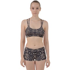 Damask2 Black Marble & Sand Women s Sports Set