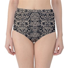Damask2 Black Marble & Sand (r) High Waist Bikini Bottoms