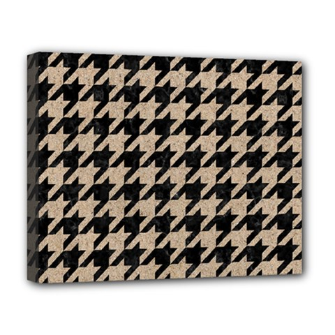 Houndstooth1 Black Marble & Sand Deluxe Canvas 20  X 16
