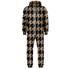 Houndstooth1 Black Marble & Sand Hooded Jumpsuit (men)