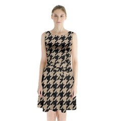 Houndstooth1 Black Marble & Sand Sleeveless Waist Tie Chiffon Dress