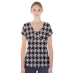 Houndstooth1 Black Marble & Sand Short Sleeve Front Detail Top