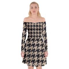 Houndstooth1 Black Marble & Sand Off Shoulder Skater Dress