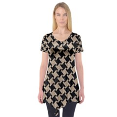 Houndstooth2 Black Marble & Sand Short Sleeve Tunic