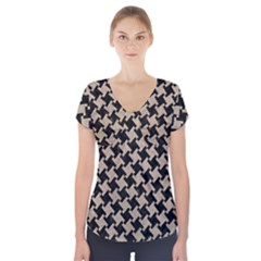 Houndstooth2 Black Marble & Sand Short Sleeve Front Detail Top