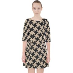 Houndstooth2 Black Marble & Sand Pocket Dress